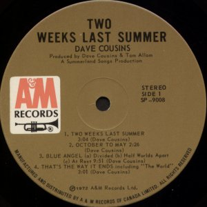 Two Weeks Last Summer Canada 1st side 1 label